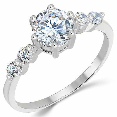 14K Solid White Gold CZ Cubic Zirconia Solitaire Engagement Ring 1.0 Ct. 14k White Gold Cz Rings