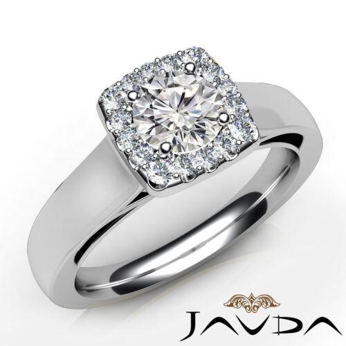 0.91ct Round U Shared Prong Set Diamond Engagement Halo Ring GIA F VS2 Platinum