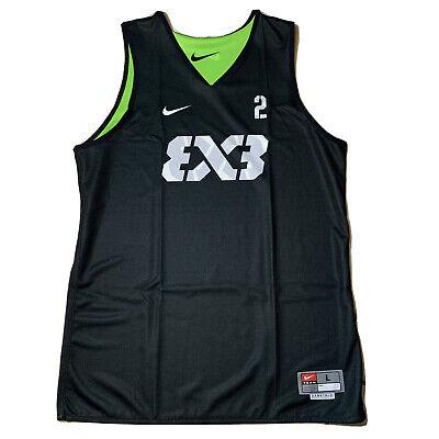 Nike FIBA Team 3x3 #2 Basketball Jersey Green Reversible Mens SZ L AR0651-013