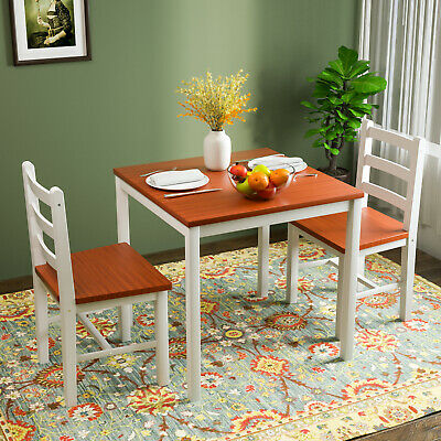 3PCS Dining Table Set 2 Chairs Pine Wood Kitchen Dining Room Furniture Natural