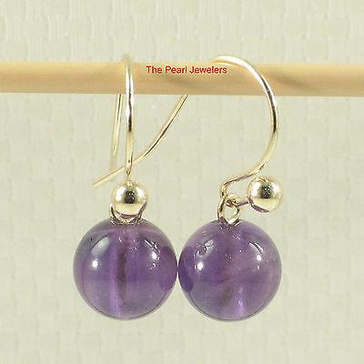 Dangle Stud Earrings Purple Amethyst 14k Yellow Gold Fish Hook Gold Ball TPJ ()