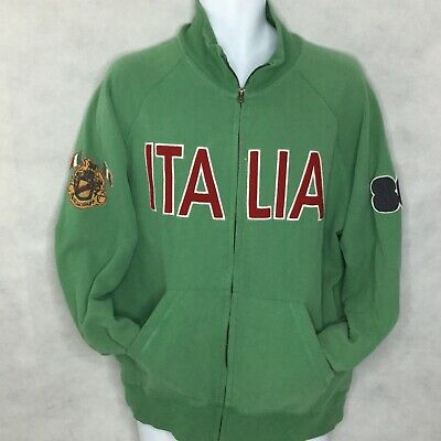 Vintage Coca Cola  Sweatshirt Sz L Italia Spellout Green Full Zip Distressed