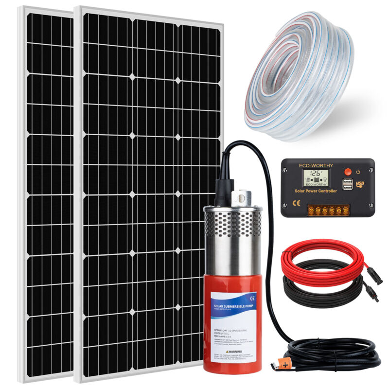 24V DC Deep Well Water Pump+2*100W Solar Panel +20A PWM Charger Controller  US