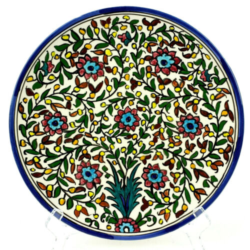 "Jerusalem Pottery Plate Hand Made Hand Painted Ceramic Decorative Israel 10.5"""