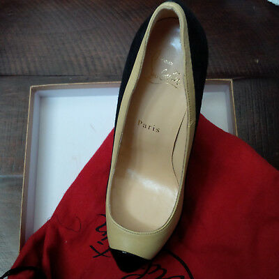 Authentic CHRISTIAN LOUBOUTIN Black/Yellow Two-Tone Cap Toe Mago Pumps SZ 36