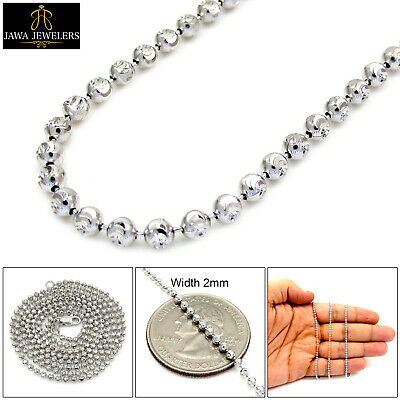 2MM 14K White Gold Diamond Cut Moon Bead Ball Chain Necklace 16