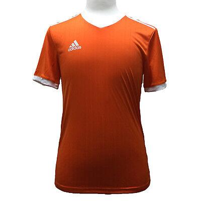 Adidas Tabela 18 Training Soccer Team 3 Stripe Jersey, Orange/White, Small Orange Striped Soccer Jersey