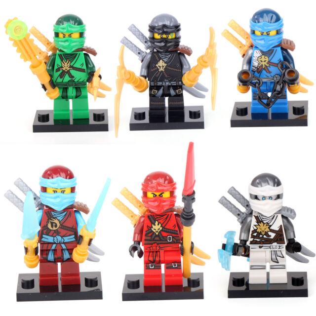 Ninjago ninja 6 minifigures jay cole lloyd kai nya zane building bricks toy lego ebay - Ninjago lloyd and kai ...