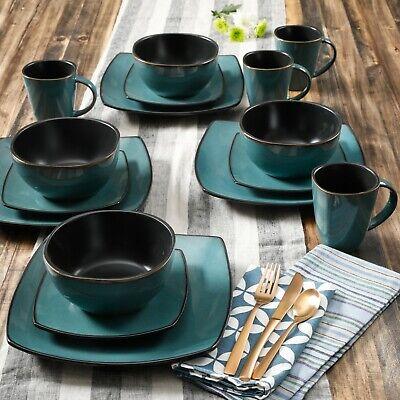 Beautiful 16-Piece Teal and Black Dinnerware Set Round Square Plates Bowls Mugs