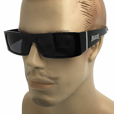 d7e7ad8eb965e8 LOCS BLACK FRAME SUNGLASSES Gangster OG Cholo Biker DARK LENS Mens Sunnies