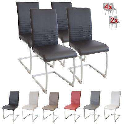 Wohnzimmer Schwingen (Esszimmerstühle MURANO, 4er Set, schwarz, Freischwinger Schwingstuhl Stuhl Leder)