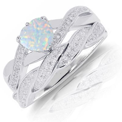 Infinity Celtic White Opal Heart Engagement Wedding Ring Set Sterling Silver