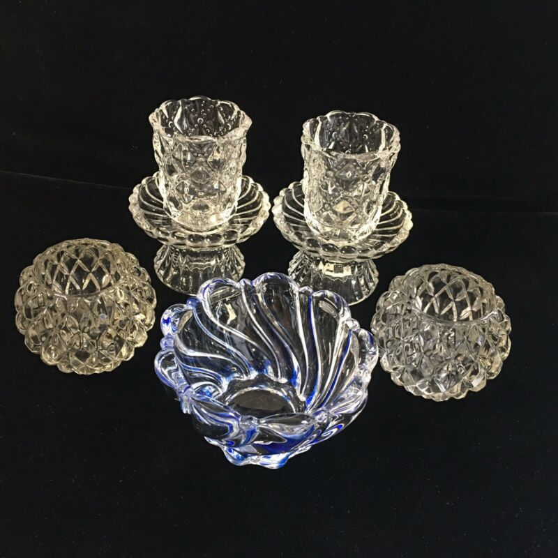 6 Pieces PartyLite VTG Crystal Candle Votive Holder & 1 Mikasa Blue Swirl Dish