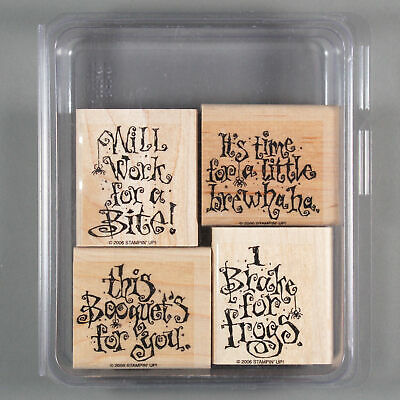 Halloween Sayings Funny (Stampin Up JUST BETWEEN FIENDS Rubber Stamp Set - Funny Halloween Words)