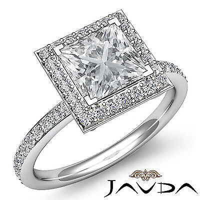 Halo Micro Pave Set Eternity Princess Cut Diamond Engagement Ring GIA G SI1 2Ct