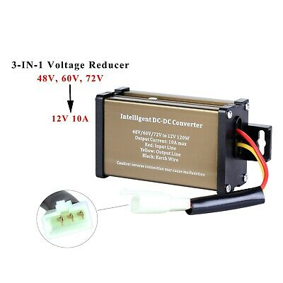 Golf Cart E-bike Lcp Displays Battery Voltage Reducer 48v 60v 72v To 12v 10a