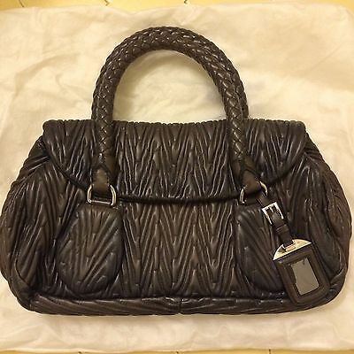 Prada Antik Ruched Leather Satchel Pleated Gaufre Braided Handles Gauffre