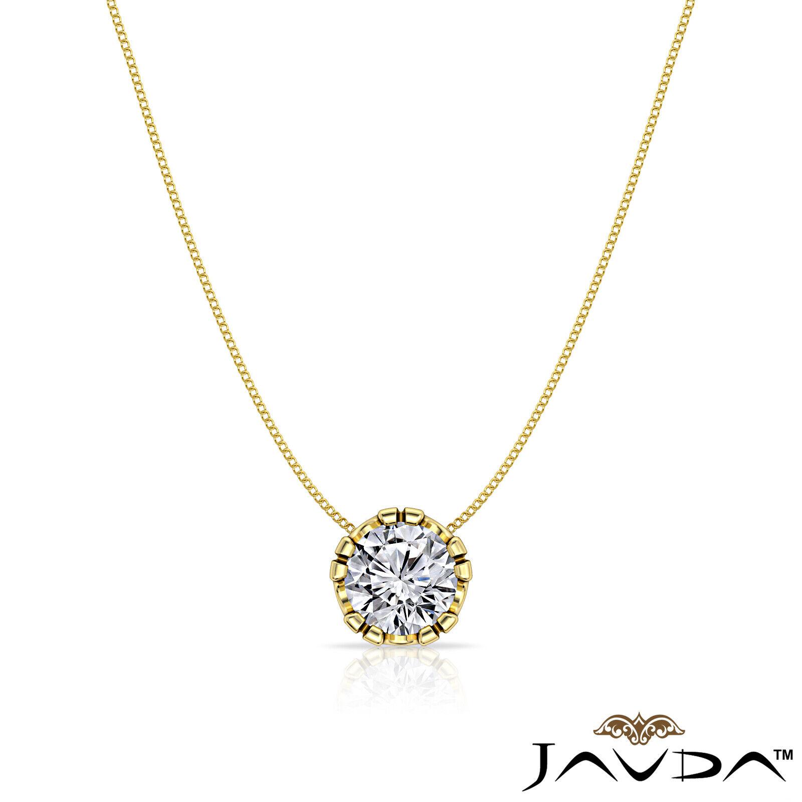 Solitaire Round Shape Diamond Double Prong Pendant 18 Inch Rolo Chain 0.26 ctw. 3