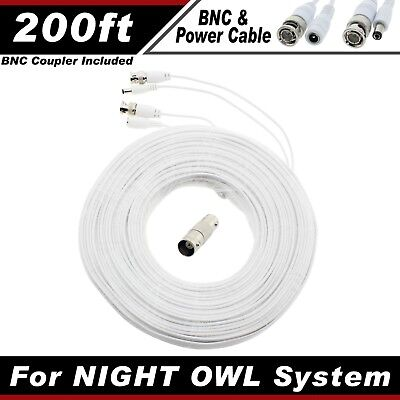 PREMIUM 200Ft HIGH QUALITY THICK BNC EXTENSION CABLES FOR NIGHT OWL SYSTEM WITHE