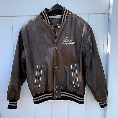 Vintage Guess USA Spell Out Men's Medium Large Brown Leather Bomber Jacket