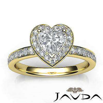 Halo Pave Set Heart Diamond Engagement Wedding Ring GIA H VS2 Yellow Gold 0.95Ct 3