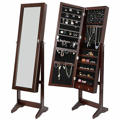 LED Mirror Jewelry Organizer Cabinet Armoire Lockable Free Standing with Drawer Mirror Jewelry Organizer