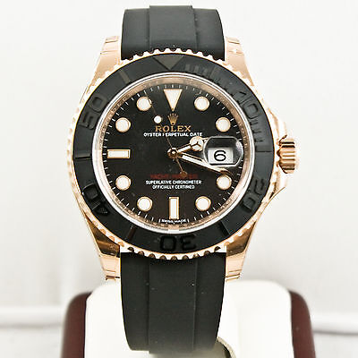 Rolex 40mm 18k Rose Gold Yachtmaster 116655 Ceramic Bezel Black Face W Card