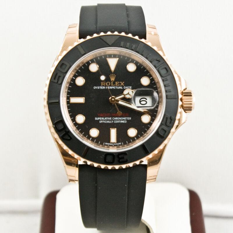 Rolex 40mm 18k Rose Gold Yachtmaster 116655 Ceramic Bezel Black Face W Card