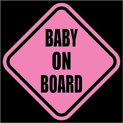 """BABY ON BOARD Window Decal/Sticker Pink 5.5""""H"""