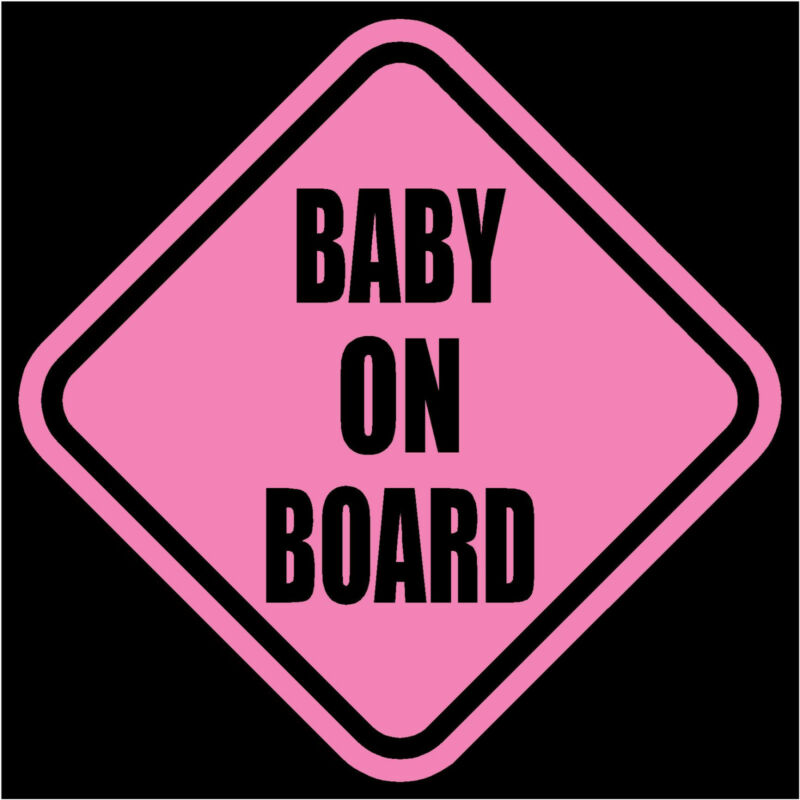 "BABY ON BOARD Window Decal/Sticker Pink 5.5""H"