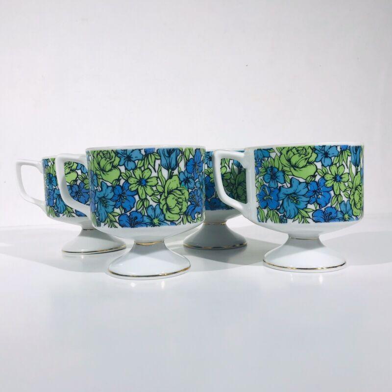 Vintage Holt Howard Japan Ceramic Pedestal Floral Coffee Cups Mugs Set of 4 EUC
