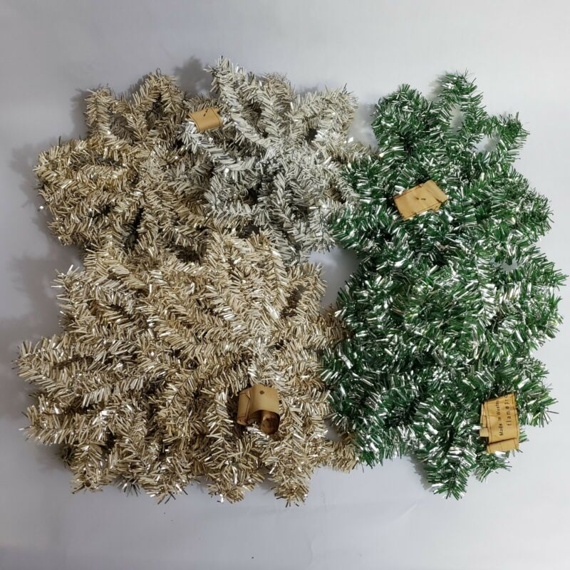 VTG Western Germany Christmas Feather Tinsel Garland Hanging Stars Snowflakes