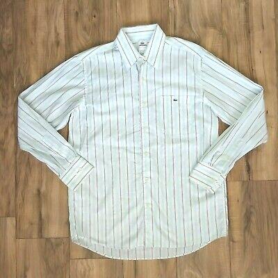 Lacoste Striped Button Up Dress Shirt Mens Size 42 100% Cotton Green White