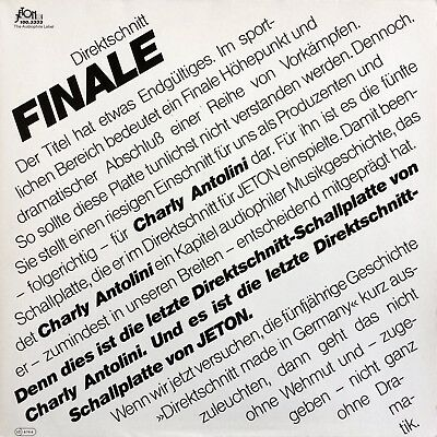 Charly Antolini FINALE 1983 Jeton – 100.3333 Limited Edition direct-to-disc LP