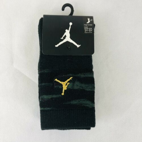 Nike Jordans High Crew Socks Boys Shoes Size 3Y-5Y 2 Pairs Camo/Black