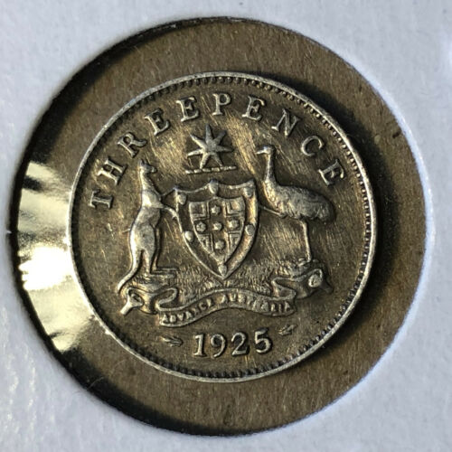 1925 Australia 3 Pence George V Silver Coin XF+ Condition
