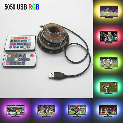 5V 5050 30SMD/M RGB LED Strip Lamp Bar TV Back Lighting Kit+USB Remote Control