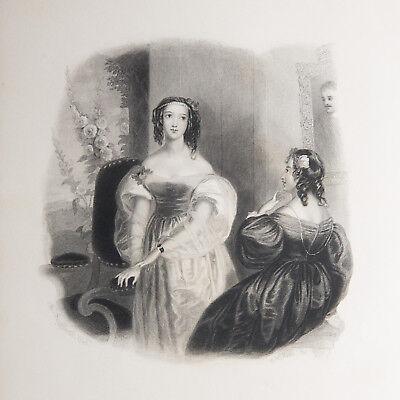 "Antique Steel-Engraved Print & Poem ""Hollyhock"" Flowers of Loveliness (Vintage)"