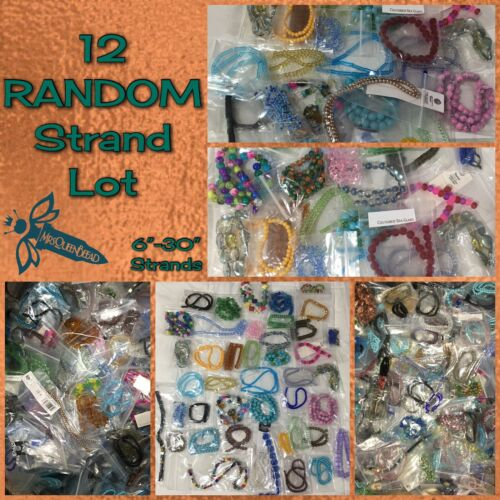 12 New Random Bead Strands Mostly Glass💯 Gemstones Shapes