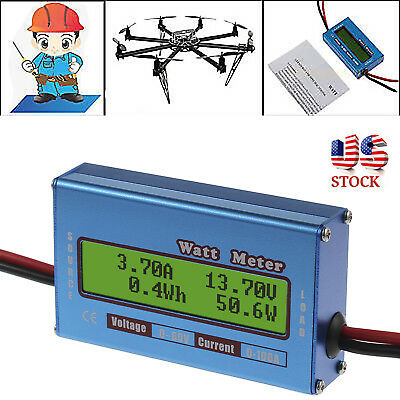 Digital Lcd Monitor Watt Meter 60v100a Dc Ammeter Rc Battery Power Amp Analyzer