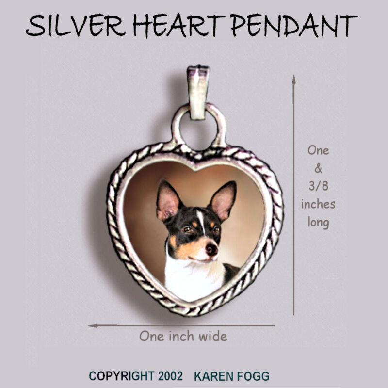 RAT TERRIER DOG - Ornate HEART PENDANT Tibetan Silver