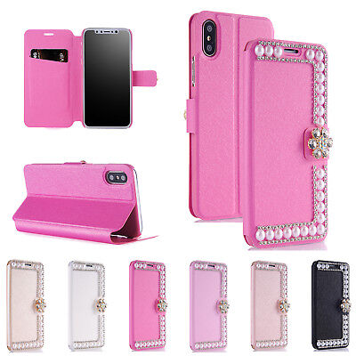 Bling Diamond Pearl Leather Wallet Card Flip Case Cover For iPhone X 6s/7/8 Plus Pearl Flip Case