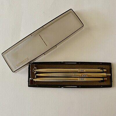 Vintage Paper Mate Double Heart Pen Set 2 Ballpoints 1 Pencil Brushed Gold Case