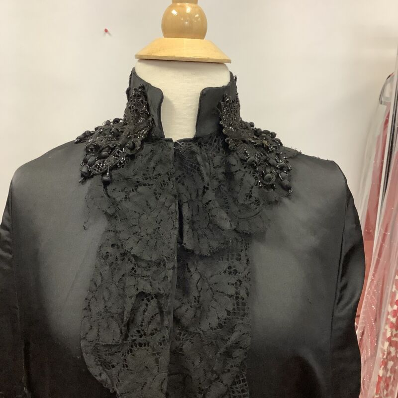 Antique Victorian 1880's Silk Braided Cord Jet Beaded Mourning Cape Or Mantle
