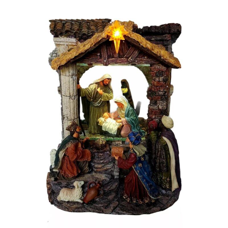 Kirkland Musical Windowpane Waterglobe Nativity. Oh Holy Night Light Up w/box