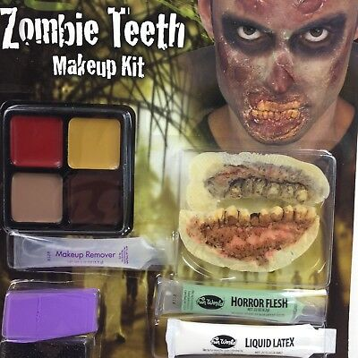 Fake Flesh Makeup (Halloween Zombie Teeth Makeup Kit Horror Flesh Fake Scary Adhesive Costume)