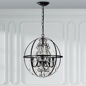 Crystal globe chandelier ebay crystal beaded globe chandelier black round orb cage swag lighting fixture lamp aloadofball Gallery