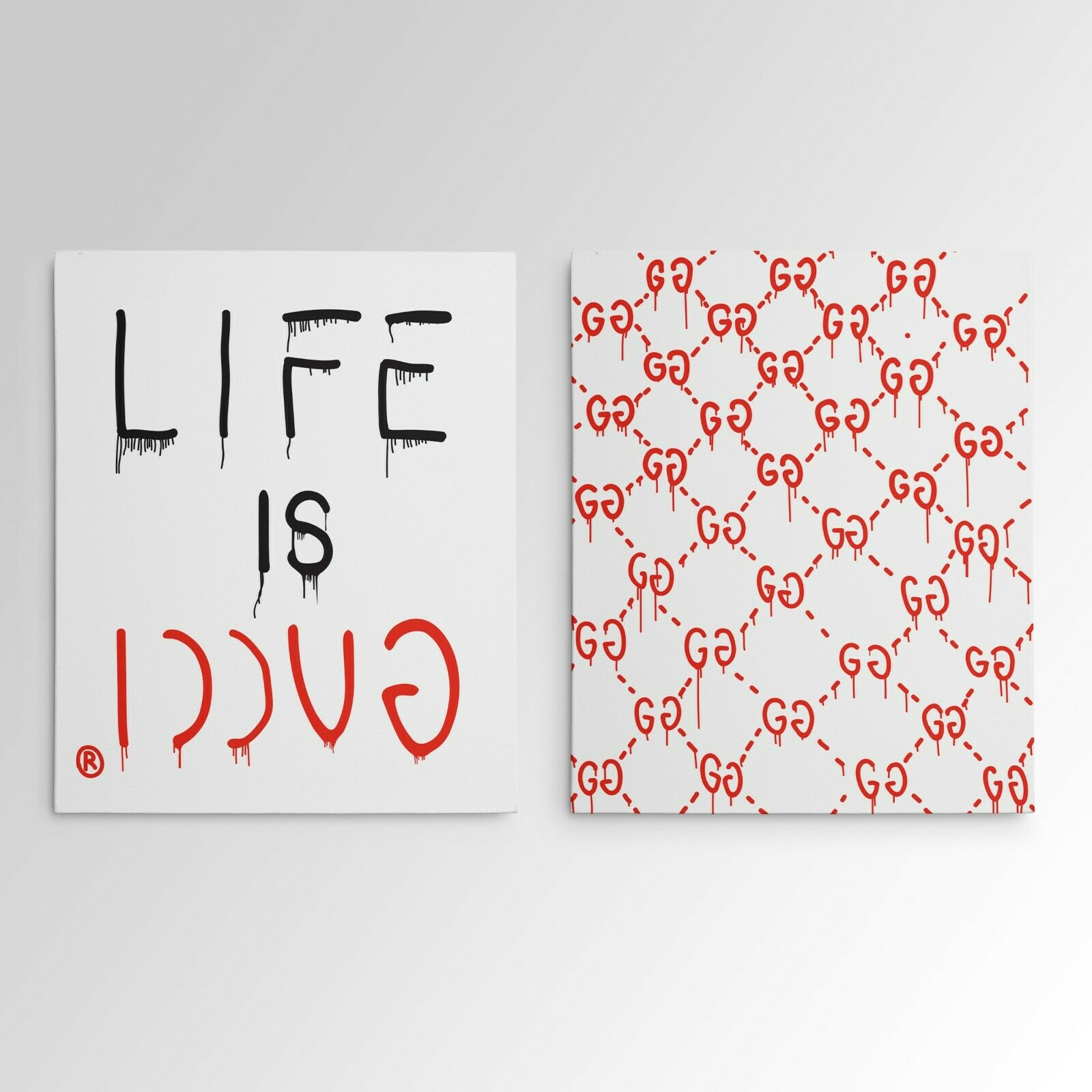 Купить Life Is Gucci Gucci Ghost Gallery Art Canvas Pop Culture Hypebeast 2 Piece Set