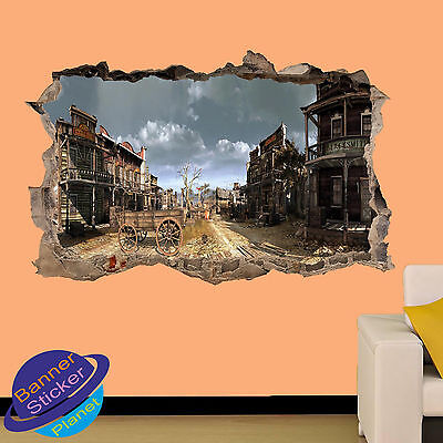 WESTERN COWBOY TOWN JUAREZ 3D SMASHED WALL STICKER ROOM DECOR DECAL MURAL YV1 - Cowboy Room Decor
