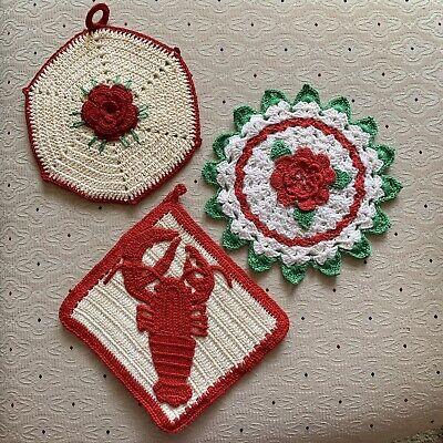 3 Vintage Crochet Red White Rose Rare Lobster potholders hotpad kitchen decor